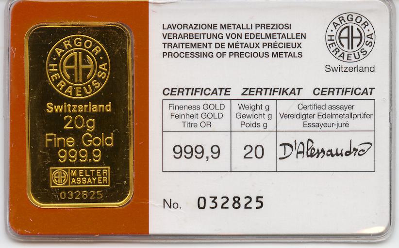 20 Gram 999 9 Fine Argor Heraeus S A Gold Bar Argor