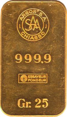 25 Gram 999 9 Fine Chiasso Argor S A Gold Bar Chiasso