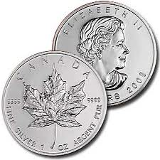 1 troy oz 9999 Maple Leaf Silver Coin
